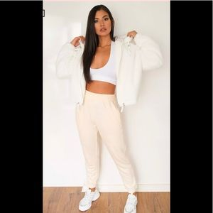 Missguided White Faux Fur Bomber Jacket